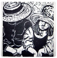 woodcut of children