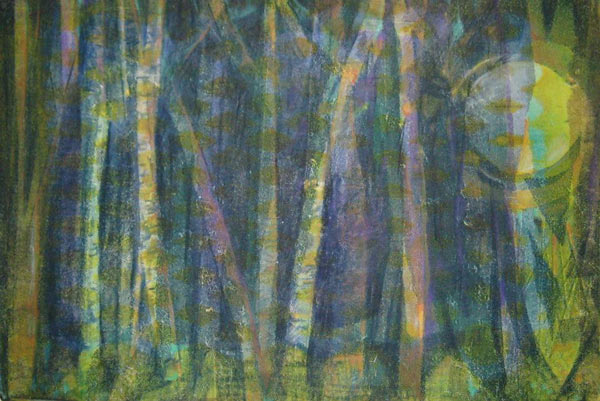 abstract monotype of woods