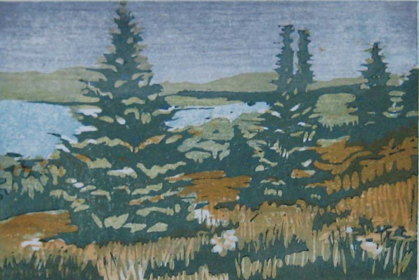 Japanese woodcut of trees by lake